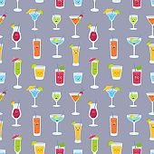 Seamless pattern with drinks in glasses with cute funny faces. Backdrop with fruit juices, alcoholic cocktails, refreshing beverages, smoothies or lemonades.