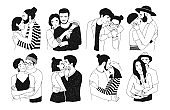 Set of romantic couples isolated on white background. Bundle of portraits trendy guys and girls in love hugging, cuddling and kissing.