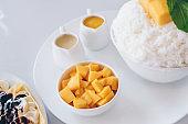 Bingsu mango (Korean Desserts) Shaved ice desserts with mango, Banana cold crepe (Japanese Desserts)
