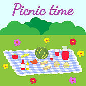 Colorful illustration featuring a picnic setup