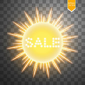 Super summer sale banner with sun on the yellow background. Business seasonal shopping concept, vector