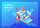 Mobile travel concept, landing page template with isometric 3d icons of hotel, airplane, smartphone, tickets, passport, application design, vector illustration
