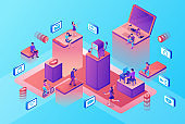 Chatbot service isometric illustration with modern hipster peopl