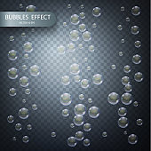 Water bubbles isolated on a transparent checkered background. Vector realistic effect template. Iridescent soap bubbles.