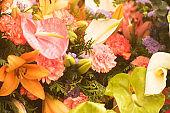 Florists pretty wedding bridal flower arrangement of cut flowers.