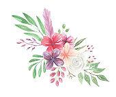 Watercolor Floral Bohemian Flower Bouquet Arrangement Feathers Berries