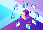 Chatbot service isometric vector illustration with icons set and robot, communication by gadgets, smartphone, mobile chat technolodgy concept, message app background
