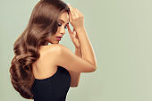 Young, appealing, well posing model is demonstrating evening hairstyle. Excellent hair waves. Hairdressing art and hair care.