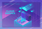Cloud service 3d isometric infographic illustration with servers, landing page layout, vector web template, smart modern storage technolodgy concept