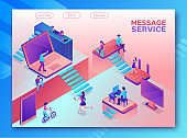 Chatbot service isometric illustration with modern hipster people communicating by gadgets, smartphone, mobile chat technolodgy concept, message app, landing page template