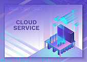 Cloud service 3d isometric infographic illustration, landing page layout, vector web template, smart modern technolodgy concept, ultra violet colors
