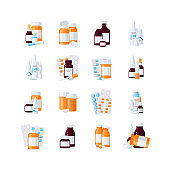 Medicine bottles vector concept in flat style
