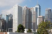 Beautiful view upon buildings in Hong Kong city