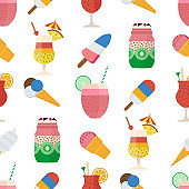 Summer Pattern with Cocktails and Ice Cream