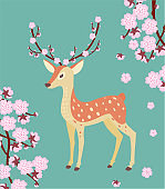 Spring illustration with a deer and cherry blossom.