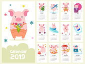 Calendar 2019 with cute pigs isolated on white background. Vector illustration.