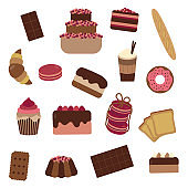 Pastry Cakes and Sweets Icon Set