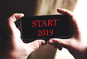 START 2019 Concept word on or smart phone