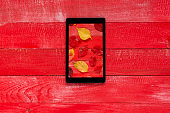 Digital Tablet with photographing fallen leaves