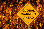 Global Warming Ahead Caution Sign