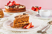 Coffee cake soaked with coffee and mascarpone frosting