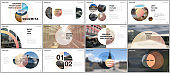 Minimal presentations design, portfolio vector templates with circle elements on white background. Multipurpose template for presentation slide, flyer leaflet, brochure cover, report, marketing.