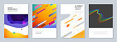 Minimal brochure templates with geometric colorful patterns, gradients, fluid shapes in minimalistic style. Templates for flyer, leaflet, brochure, report, presentation, advertising.