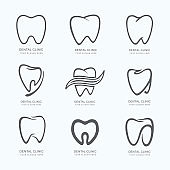 Set of graphic teeth.  Dental personage vector illustration. medical concept for your design. Oral hygiene, teeth cleaning. Teeth sticker. Vector Icon, illustration