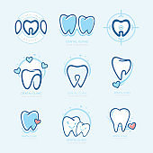 Happy teeth set. Dental personage vector illustration. medical concept for your design. Illustration for children dentistry. Oral hygiene, teeth cleaning. Teeth sticker