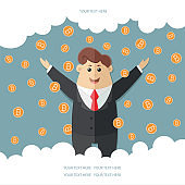 Man in a suit with a red tie getting a lot rain of bitcoins. Simple way to earn money online. Flat vector icon, illustration