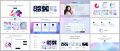 Vector templates for website design, minimal presentations, portfolio with geometric patterns, gradients, fluid shapes. UI, UX, GUI. Design of headers, dashboard, contact forms, features page, blog.