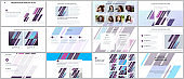 Minimal presentations, portfolio templates with geometric patterns, gradients, fluid shapes on white. Brochure cover vector design. Presentation slides for flyer, brochure, report, advertising.