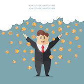 Man in a suit with a red tie getting a lot rain of bitcoins. Simple way to earn money online.  block chain. Flat vector icon, illustration