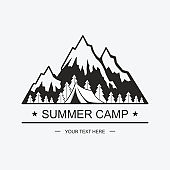 Drawn graphic icon of the tops of mountains for design. Summer camp, vacation in nature. Vector illustration, icons