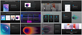 Minimal presentations, portfolio templates with colorful gradient blurs and geometric backgrounds. Brochure cover vector design. Presentation slides for flyer, leaflet, brochure, report, advertising.