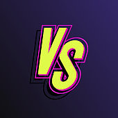 Vector versus sign neon style yellow color isolated on background