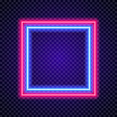 Vector neon frame square shape colorful style on transparent background