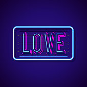 Love sign neon style with colorful bright frame on cyan background for sex shop