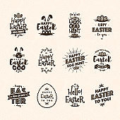 Easter emblem set brown color isolated on background typography style for greeting card