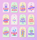 Easter tag set colorfull typography style for  sale, party