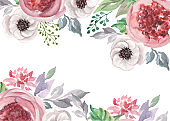 watercolor flowers for design