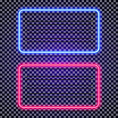Vector neon horizontal frames set cyan and red color on transparent background