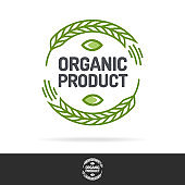 Organic product logo set color line style