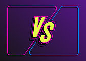 Versus banner with frame and vs sign neon style