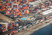 Aerial view of containers on dock in new york