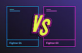 Versus banner with frame neon style blue and pink color