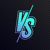 Vector versus sign modern neon gradient style cyan blue color