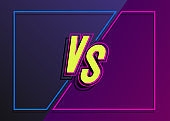 Vector versus banner with frame neon style