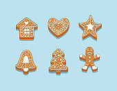Gingerbread cookies, a set of different cookies decorated with glaze. Christmas decorations, vector illustration template