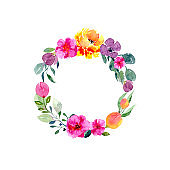 Watercolor floral wreath. Background with frame of fresh spring foliage, bright flowers and place for text